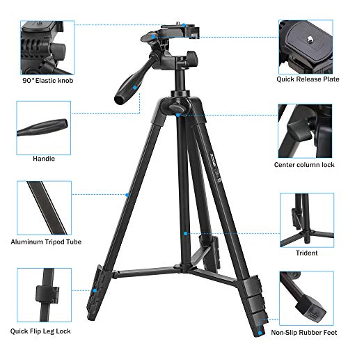 Phone Tripod, ZOMEi T90 53-Inch Camera Tripod, Adjustable Video Tripod with Bag, 3-Way Pan Head, Phone Tablet Holder and Bluetooth Remote, Compatible with Ring Light Cameras Tablet and Smartphones