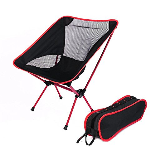 Portable Folding Chair, Heavy Duty Ultralight Foldable Chair with Carry Bag for Travel and Outdoor (2lb) (Red)