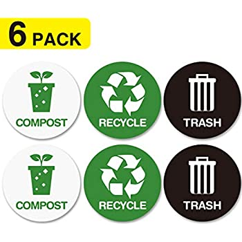 Amazon Com Recycle And Trash Bin Logo Stickers Recycle
