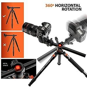 "Horizontal Arm Professional Camera Tripod & Monopod – Portable Tripod Stand with 360° Ball Head – 67"" DSLR Tripod for Video – Lightweight Aluminum Travel Tripod"
