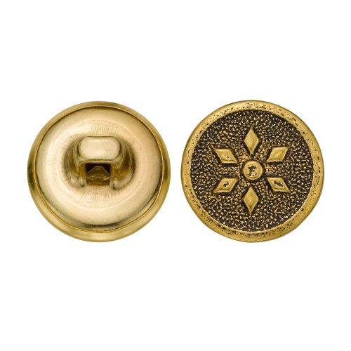 C&C Metal Products 5055 Diamond Petal Flower Metal Button, Size 24 Ligne, Antique Gold, -
