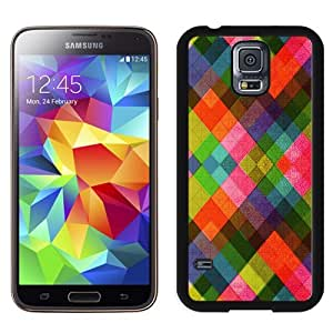 NEW Unique Custom Designed Samsung Galaxy S5 I9600 G900a G900v G900p G900t G900w Phone Case With Multicolored Diamonds Pattern Abstract_Black Phone Case