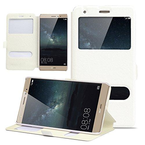 Custodia Huawei Mate S - EUGO Custodia di Cuoio e Protettiva Flip Integrati con Magnetico Snap Case for Huawei Mate S- Bianca