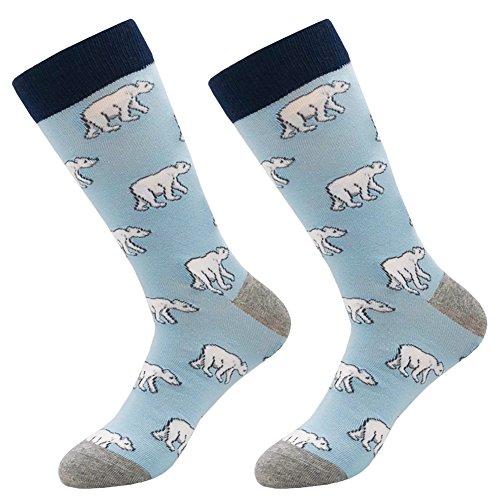 - Men's Novelty Patterned Socks, KoolHour Animal Cartoon Polar Bear Art Fun Patterned Cotton Blend Casual Dress Novelty Crew Socks Gift 1 Pack,Blue