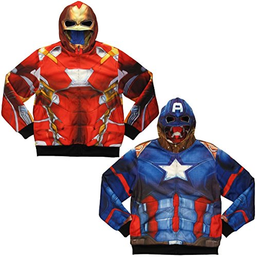 [Captain America, Iron Man Civil War Reversible Hoodie (M)] (Iron Man Shirt And Mask Costumes)
