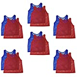 Adorox 12 Pack Adult - Teens Scrimmage Practice Jerseys Team Pinnies Sports Vest Soccer, Football, Basketball, Volleyball (6 Red and 6 Blue)