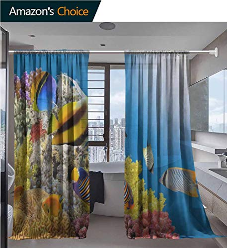 vanfanhome Curtains Semi Sheer Curtain, Rubber Stamp with Name Vector Printing, Bedroom Curtains Set Window Panels Drapes for Kids Room, 54 x 63 Inch/Panel