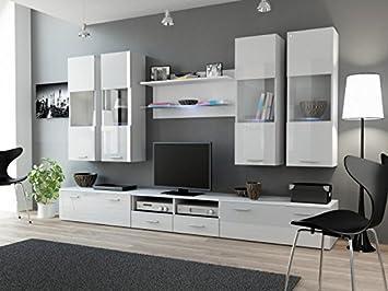 Wohnwand Dream I Hochglanz Wohnzimmer Tv Wand Farbe Weiß Matt