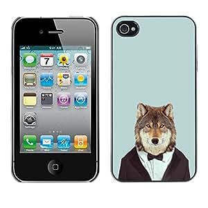 King Case - FOR iPhone 4 / 4S - Wolf Heart Face Funny - Caja protectora de pl??stico duro Dise?¡Àado