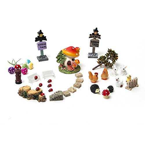 38 Pcs Tonsiki Miniature Fairy Garden Ornament DIY Dollhouse Kit