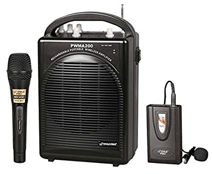 Pyle PWMA200 Compact & Wireless Microphone PA Speaker System, Handheld Mic Sound Around