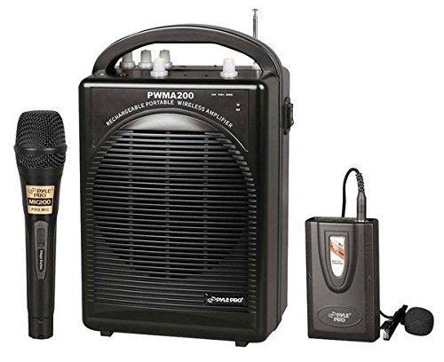 80 Watt Speaker System - Pyle PWMA200 Compact & Wireless Microphone PA Speaker System, Handheld Mic