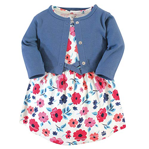 Touched by Nature Girl Baby Organic Cotton Cardigan and Dress, Garden Floral 2 Piece Set, 18-24 Months (24M)