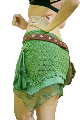 Yara Skirt - Festival Gypsy Bohemian Skirt Hippie Lace Crochet Midi Knee Goa Ethnic Nomadic Rave psytrance with Pocket (Lime - Elf Nomadic