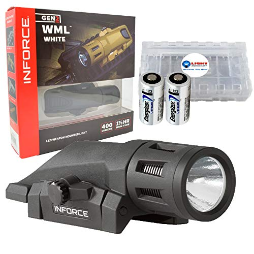 InForce WML Weapon Light Gen 2 400 Lumen LED - Black Bundle with 2 Extra Energizer CR123A Batteries and a Lightjunction Battery Box