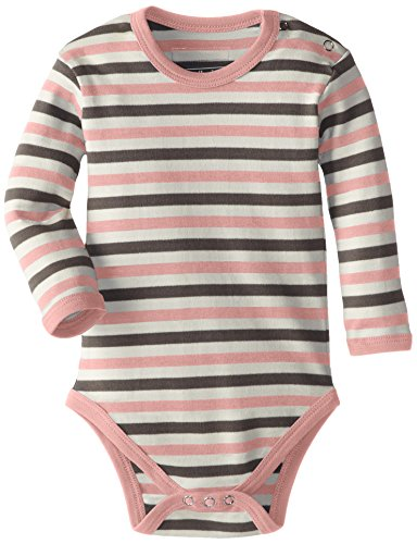 L'ovedbaby Unisex-Baby Newborn Organic Long Sleeve Bodysuit, Coral Stripe, 18/24 Months