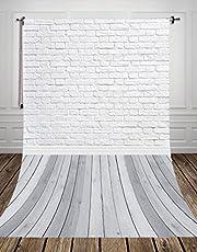 Nivius Photo® 150 x 300 cm grå trägolv studio foto bakgrund gjord av tunn vinyl vit tegel för nyfödda fotografi d-9713