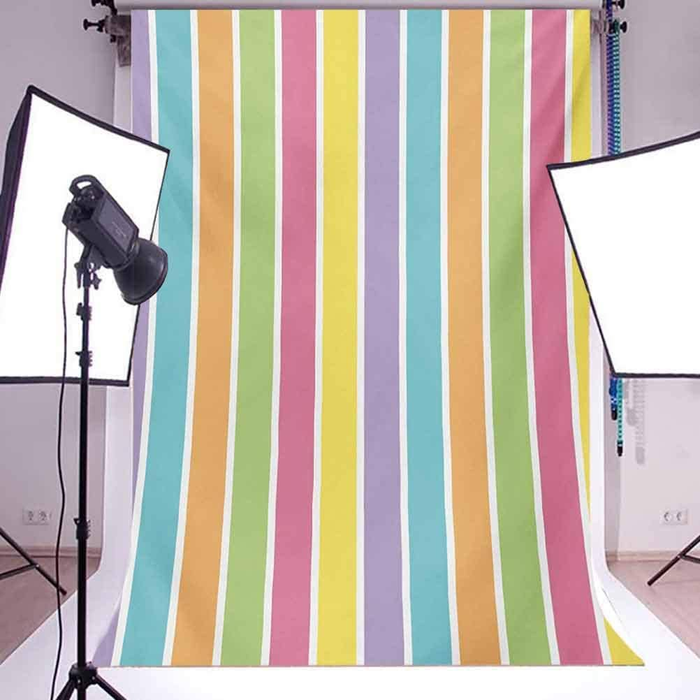 Colorful 6.5x10 FT Photo Backdrops,Pastel Colored Striped Summer Pattern Funky Cheerful Rainbow Inspired Traditional Background for Party Home Decor Outdoorsy Theme Vinyl Shoot Props Multicolor