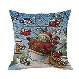 Merry Christmas Throw Pillow Cases Pgojuni Cushion Cover Cotton Linen Pillow Cover 1pc 45cmx45cm (I)