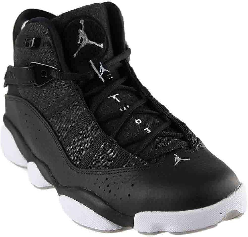 Nike Mens Jordan 6 Rings Black//Silver Leather Size 12