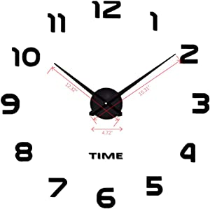 DIY Wall Clock Modern Design Large 3D Wall Decoration Gift Frameless Used to Decorate The Empty Wall, Like Home, Office, Hotel (Black-1)