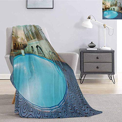 Luoiaax Modern Luxury Special Grade Blanket Vivid Blue Swimming Pool in Spa Interior Resort Relaxation and Theraphy Theme Multi-Purpose use for Sofas etc. W54 x L72 Inch Blue Aqua Beige
