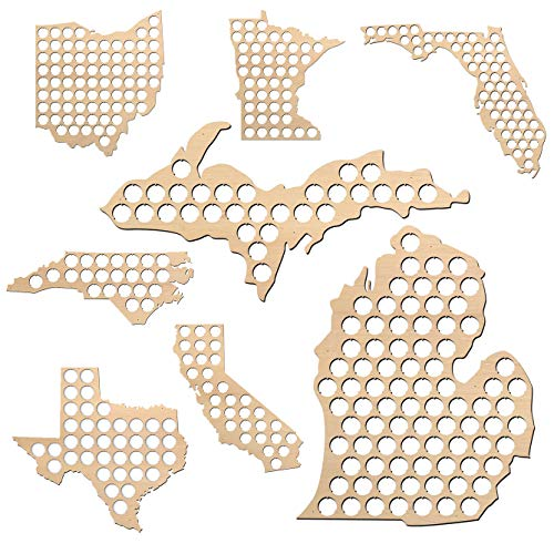 All States Beer Cap Map Michigan - 26×25 inches - 112 caps - Michigan Beer Cap Holder - Birch Plywood