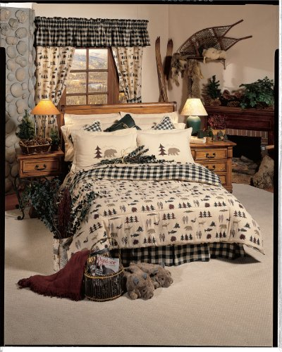 True Grit - Northern Exposure - 8 Pc FULL SIZE Comforter Set & Matching Bathroom Shower Curtain (Comforter, 1 Flat Sheet, 1 Fitted Sheet, 2 Pillow Cases, 2 Shams, 1 Bedskirt, 1 Shower Curtain)