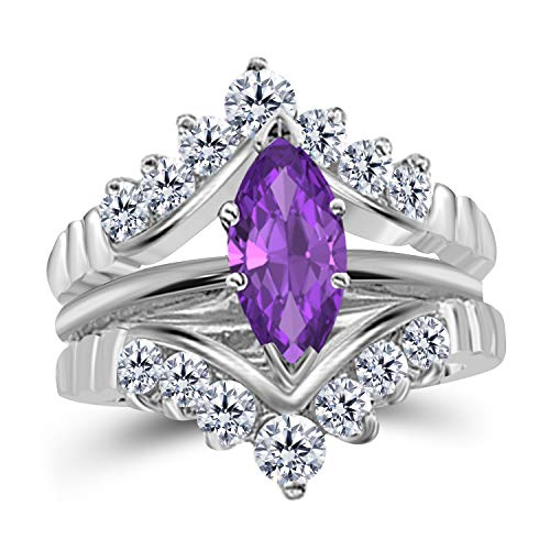 Gems and Jewels 0.75 Ct Marquise Solitaire Engagement Wedding Ring Band Set Enhancer Amethyst 14k White Gold Plated Alloy