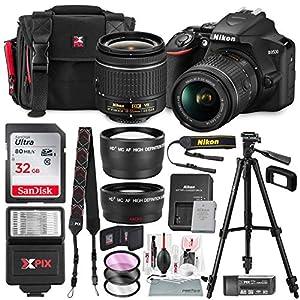 51ECKDBckQL. SS300  - Nikon D3500 DSLR Camera with AF-P DX NIKKOR 18-55mm f/3.5-5.6G VR Lens + 32GB Card, Flash, Tripod, and Bundle
