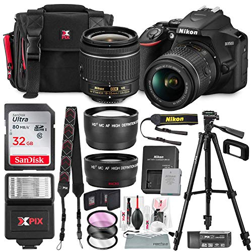 Nikon D3500 DSLR Camera with AF-P DX NIKKOR 18-55mm f/3.5-5.6G VR Lens + 32GB Card, Flash, Tripod, and Bundle