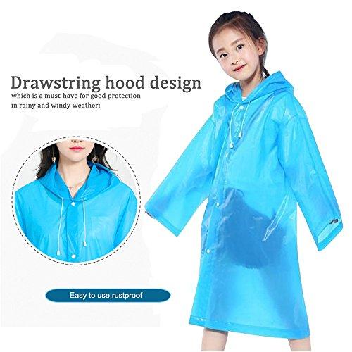 DEWEL Rain Poncho 4 Pack Reusable Eva Raincoat Hat Adult Children Outdoor (Children) by DEWEL (Image #1)