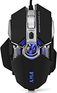 FitY Gaming Mouse Ergonomic Mechanical Mice, 8 Buttons Macro Programmable Desktop Laptop PC Gamer MMO Mouse,Illumination 16.8 Million RGB Backlight USB Wired Gaming Mouse with Black