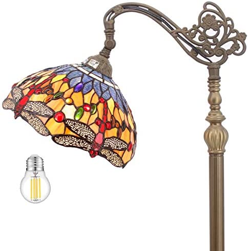 Tiffany Style Reading Floor Lamp Lighting W12H64 Inch LED Bulb Included Blue Orange Stained Glass Dragonfly Lampshade Antique Adjustable Arched Base S168 WERFACTORY Lamps Living Room Bedroom Gift