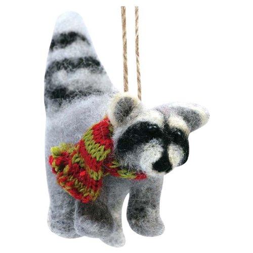 Raccoon Felted Ornament