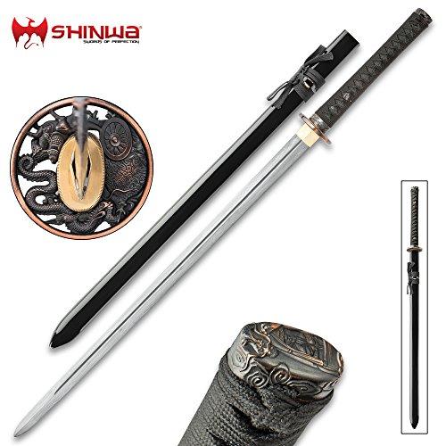 Shinwa Dragon Lord Handmade Katana/Samurai Sword - Double Edged; Hand Forged Damascus Steel, 1,000+ Layers - Distinctive Custom Dragon Tsuba - Genuine Ray Skin - Functional, Battle Ready, Full (Custom Sword)