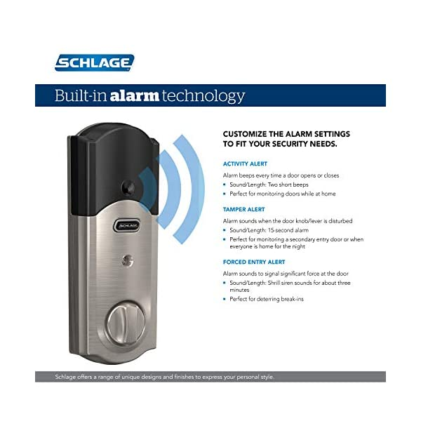 Schlage BE469ZP CAM 619 Connect Smart Deadbolt with alarm with Camelot Trim in Satin Nickel, Z-Wave Plus enabled 4
