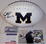 Desmond Howard Autographed Hand Signed Michigan Wolverines Full Size Logo Football - with 1991 Heisman inscription - PSA/DNA