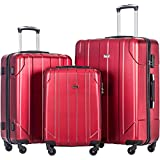 Merax 3 Piece P.E.T Luggage Set Eco-friendly Light Weight Travel Suitcase (Red)