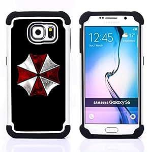 """Samsung Galaxy S6 / SM-G920 - 3 en 1 impreso colorido de Altas Prestaciones PC Funda chaqueta Negro cubierta gel silicona suave (Umbrella Corp Evil"""")"""