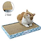 Reversible Cat Scratcher Cardboard with Box, Durable Cat Scratch Pad Cardboard Bed with Catnip, Extra Wide(44 * 28 * 4cm)