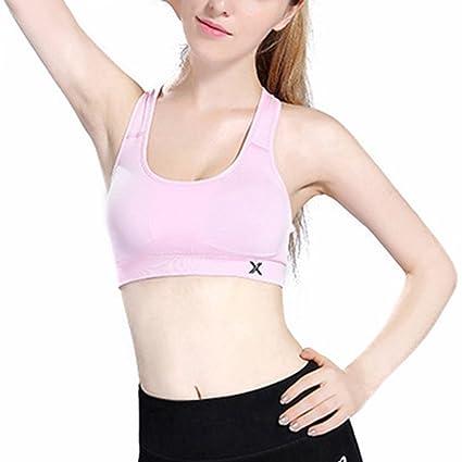 SHIZHESHOP Sujetador Deportivo sin Costuras para Mujer Sujetador de Entrenamiento de Gimnasio de Espalda Cruzada (