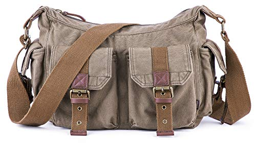(Gootium Vintage Canvas Messenger/Shoulder Bag Men's, 32 cm, Army Green)