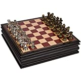 Bancroft Chess Inlaid Wood Board Game with 2.5 Inch Metal Pieces and Extra Queens - 12 Inch Set (Medium)