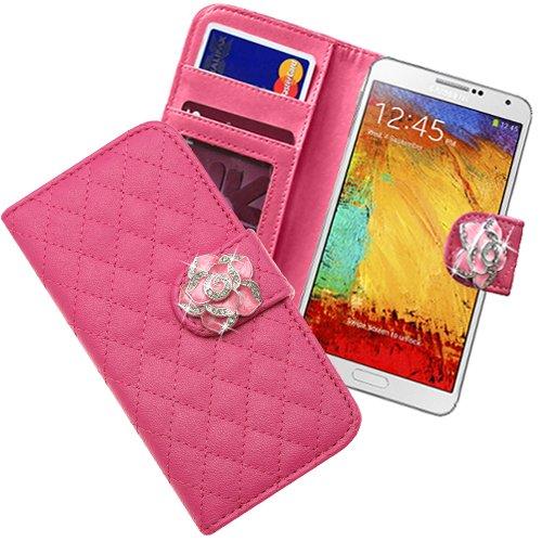 Xtra-Funky Exclusivo del Faux de caja monedero de la cartera de cuero del tirón con incrustado cristalina Rose en Correa Cierre Magnético para Samsung Galaxy Note 3 - Púrpura Rosa