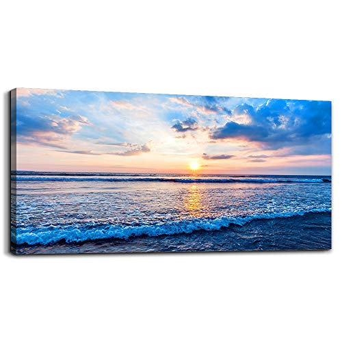 - Canvas Wall Art for Living Room Blue Beach Ocean sea Waves Landscape Wall Decor Ready to Hang Home Decorations Bedroom Kitchen Bathroom Inspirational Canvas Prints Posters Painting Wall Mural Artwork