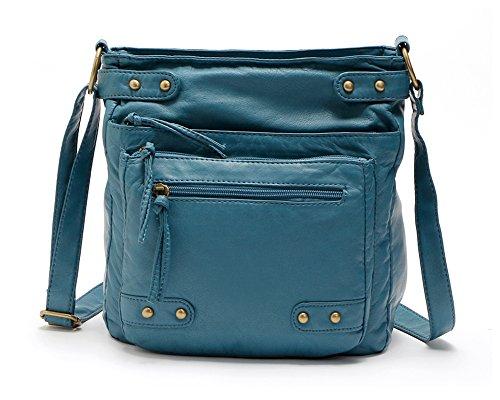 Denim Leather Satchel (FanCarry Washed Soft Leather Crossbody Purse Multi Pocket Shoulder Satchel Bags for Women (Denim))
