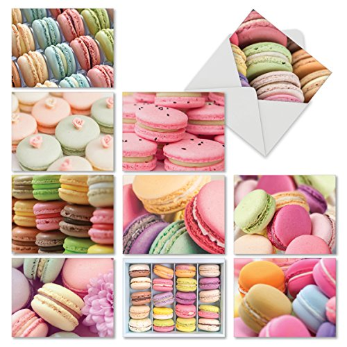 M6566TYG Colorful Confections: 10 Assorted Thank You Note Cards Featuring French Macarons in Bright and Sugary Pastels, w/White Envelopes.