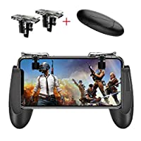 Mobile Game Controller [Upgrade Version] Mobile Gaming Trigger for PUBG/Fortnite/Rules of Survival Gaming Grip and Gaming Joysticks for 4.5-6.5inch Android iOS Phone (1Pair+1Gamepad)