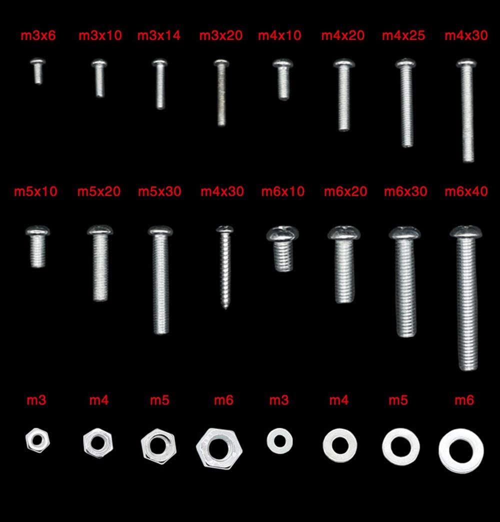 24 Grids Stailess Steel Bolts Nuts Washers Set Machine Screws Metric M3 M4 M5 M6